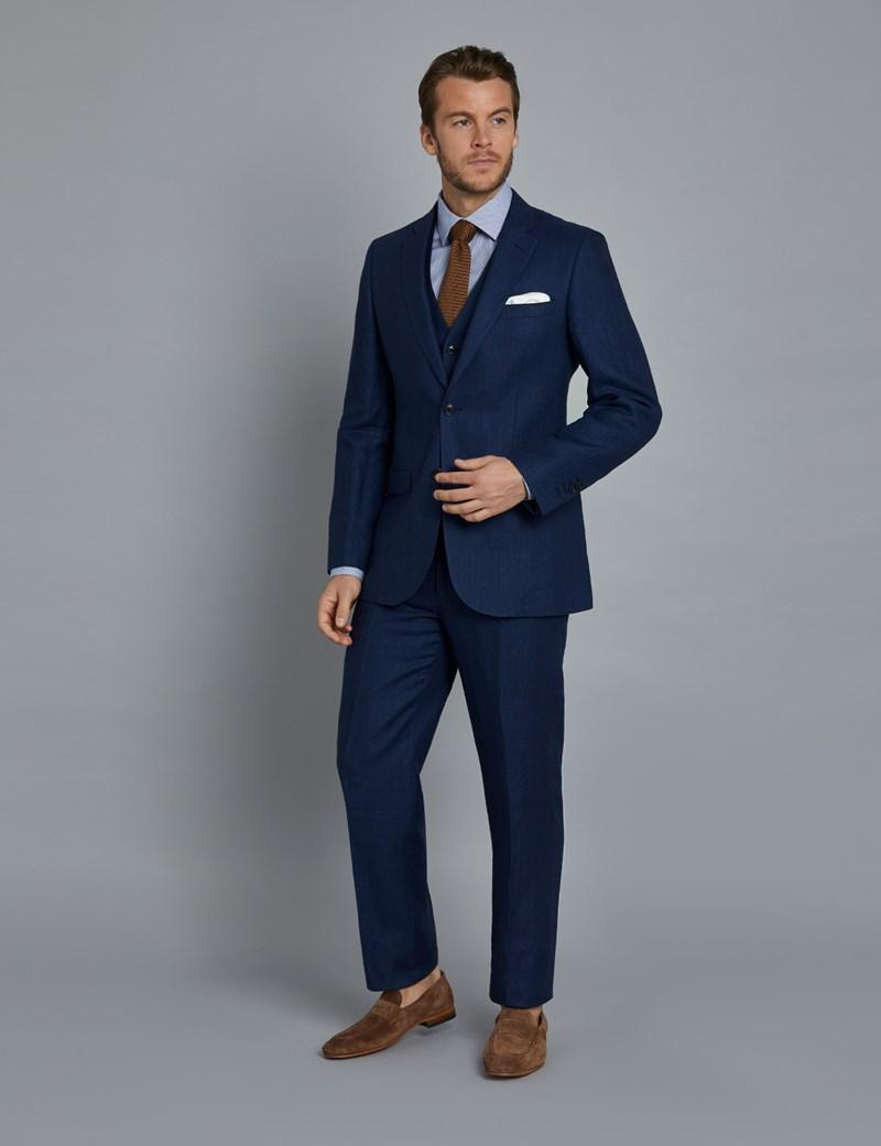 Anzughose - Tailored Fit - Fischgrat königsblau - 100% Leinen - ohne Bundfalte - Vorderhose gefüttert - ungesäumt