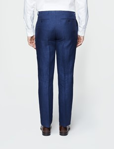 Men's Royal Blue  Herringbone Tailored Fit Linen Trousers – 1913 Collection