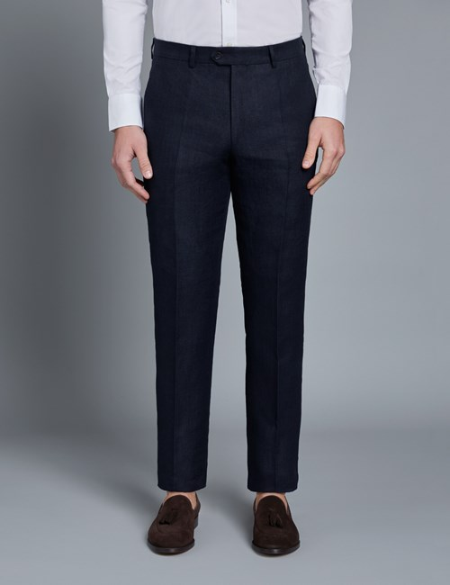 Men's Navy Herringbone Tailored Fit Linen Italian Suit Trousers – 1913 Collection
