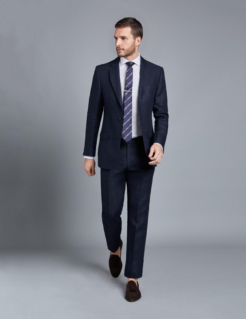 Anzughose - Tailored Fit - Fischgrat marineblau - 100% Leinen - ohne Bundfalte - Vorderhose gefüttert - ungesäumt