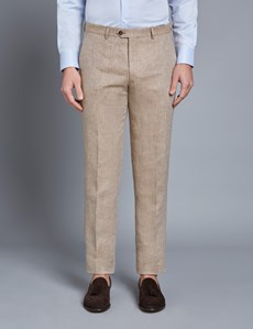 Men's Beige Herringbone Tailored Fit Linen Italian Suit Trousers – 1913 Collection