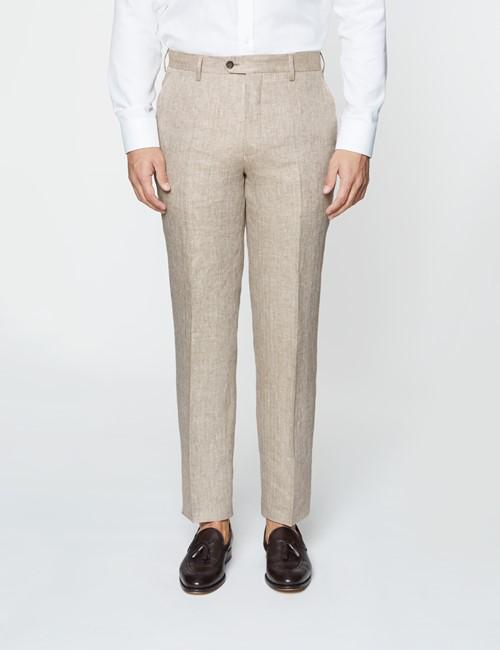 Men's Beige Herringbone Tailored Fit Linen Italian Suit Trousers – 1913 Collection