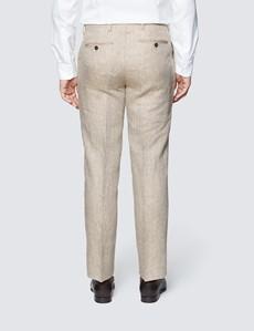Anzughose - Tailored Fit - Fischgrat beige - 100% Leinen - ohne Bundfalte - Vorderhose gefüttert - ungesäumt