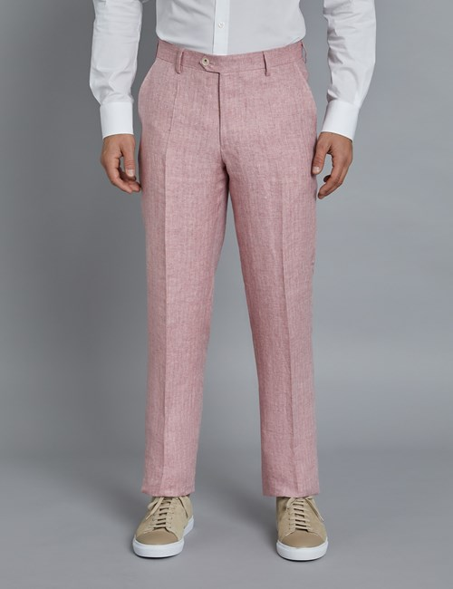 Men's Pink Herringbone Linen Tailored Fit Italian Suit Pants - 1913 Collection