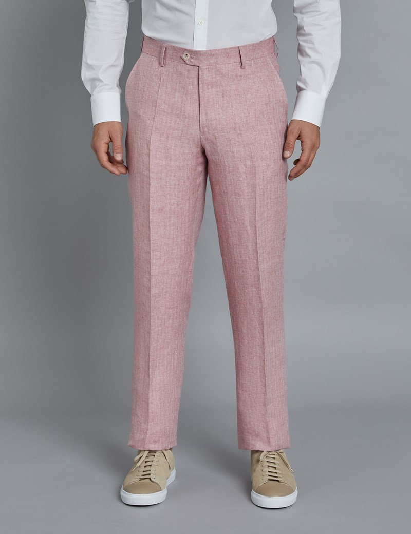 Men's Pink Herringbone Linen Tailored Fit Italian Suit Trousers - 1913 Collection