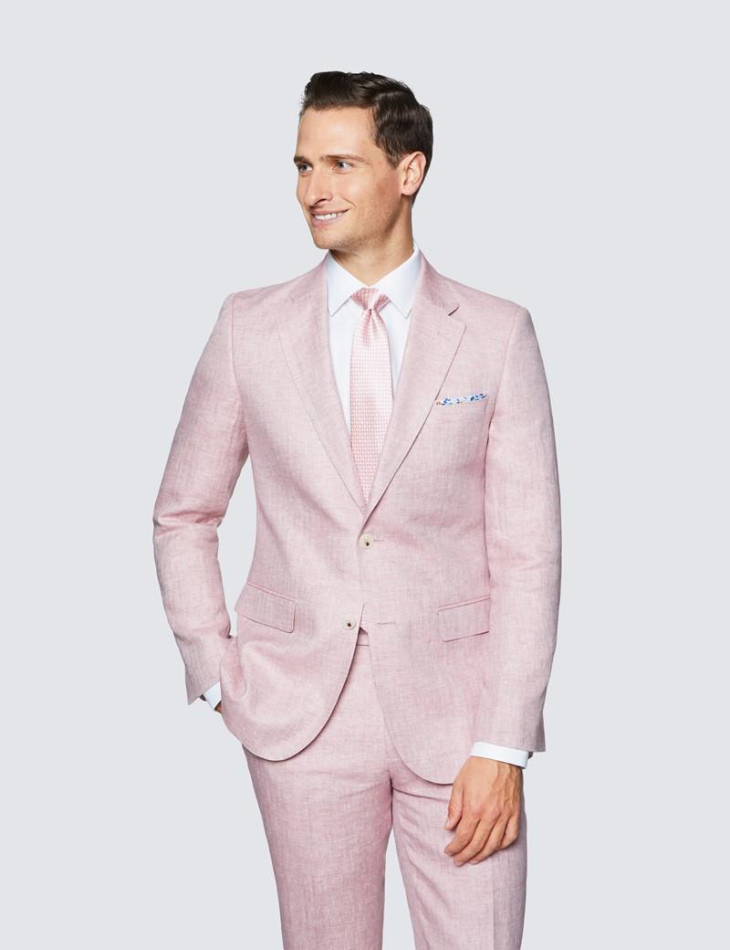 Anzughose - Tailored Fit - Fischgrat pink - 100% Leinen - ohne Bundfalte - Vorderhose gefüttert - ungesäumt