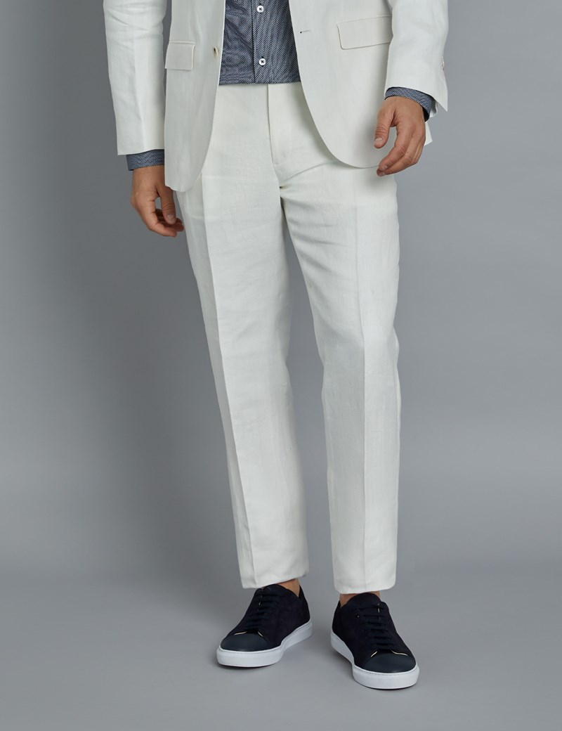 Men's White Herringbone Tailored Fit Linen Trousers – 1913 Collection