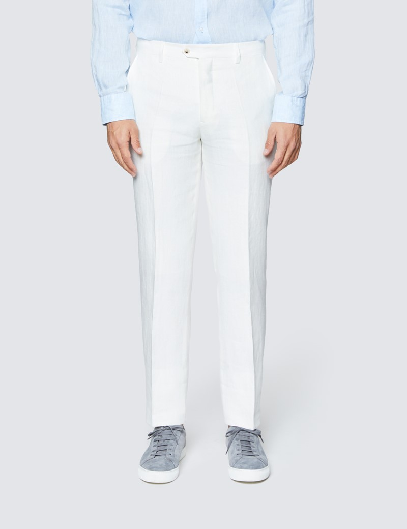 Men's White Herringbone Tailored Fit Linen Pants – 1913 Collection