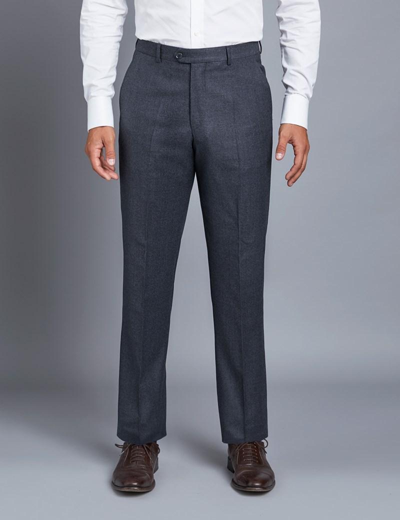 Anzughose - Tailored Fit - Blau - Schurwolle - ohne Bundfalte - Vorderhose gefüttert - ungesäumt