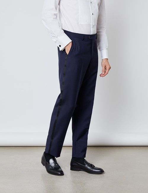 Men's Royal Blue Mohair Tailored Fit Italian Dinner Suit Trousers – 1913 Collection