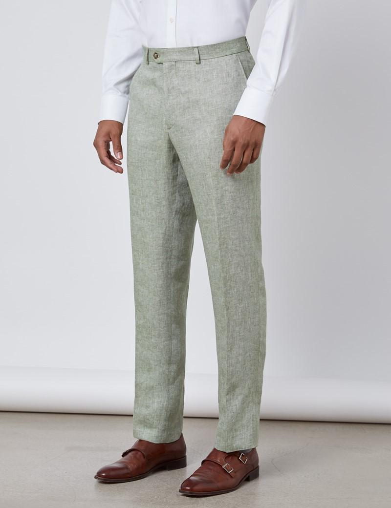 Men's Green Semi Plain Linen Tailored Fit Italian Suit Pants - 1913 Collection