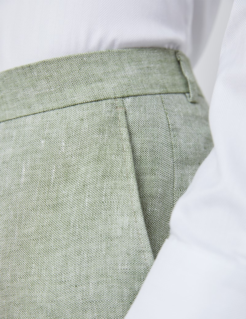 Men's Green Semi Plain Linen Tailored Fit Italian Suit Trousers - 1913 Collection