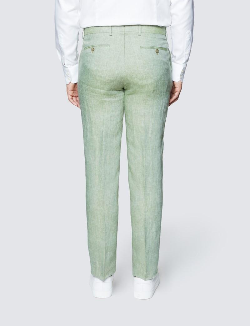 Men's Green Semi Plain Linen Tailored Fit Italian Suit Trousers - 1913 Collection
