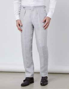 Men's Grey Linen Tailored Fit Italian Suit Pants - 1913 Collection