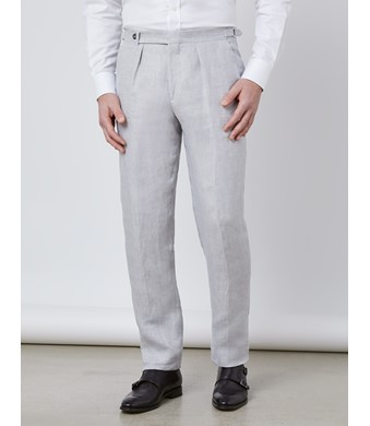 Men's Grey Linen Tailored Fit Italian Pleated Suit Trousers - 1913 Collection