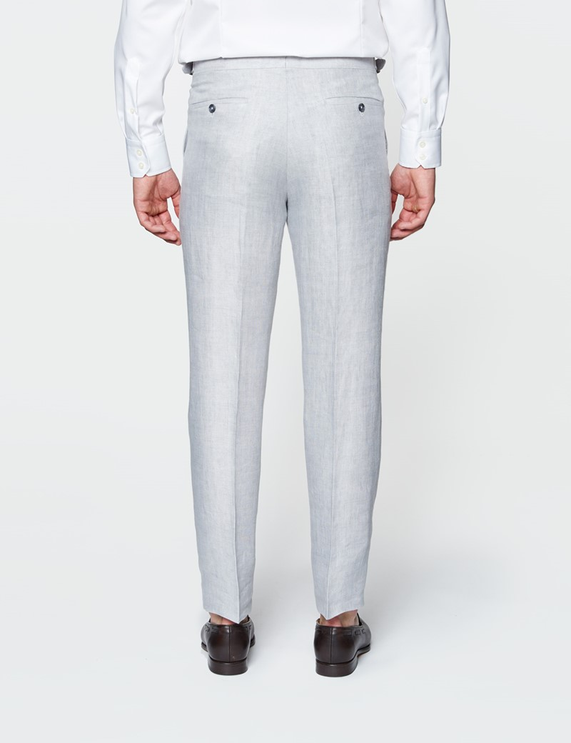 Men's Grey Linen Tailored Fit Italian Suit Trousers - 1913 Collection