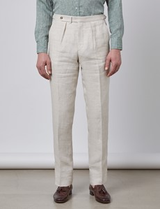 Men's Cream Plain Linen Tailored Fit Suit Pants