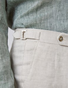 Men's Cream Linen Tailored Fit Pleated Suit Trousers