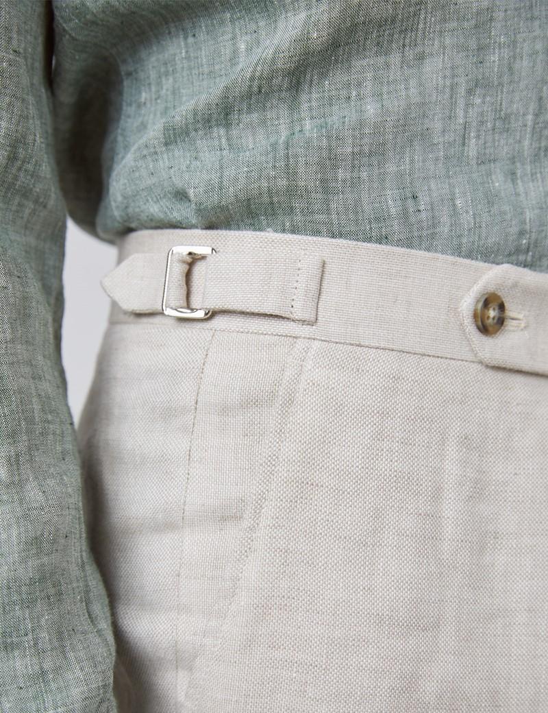 Leinenhose – Tailored Fit – ungesäumt – ohne Bundfalte – Ungesäumt