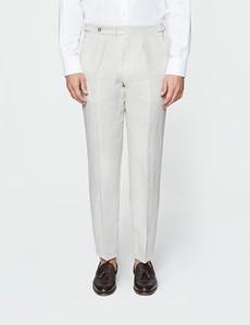 Men's Cream Plain Linen Tailored Fit Suit Trousers