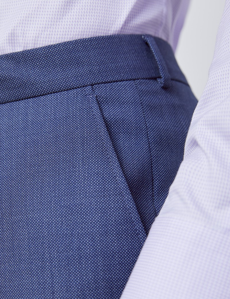 Men's Dark Blue Tailored Fit Italian Suit Trousers - 1913 Collection