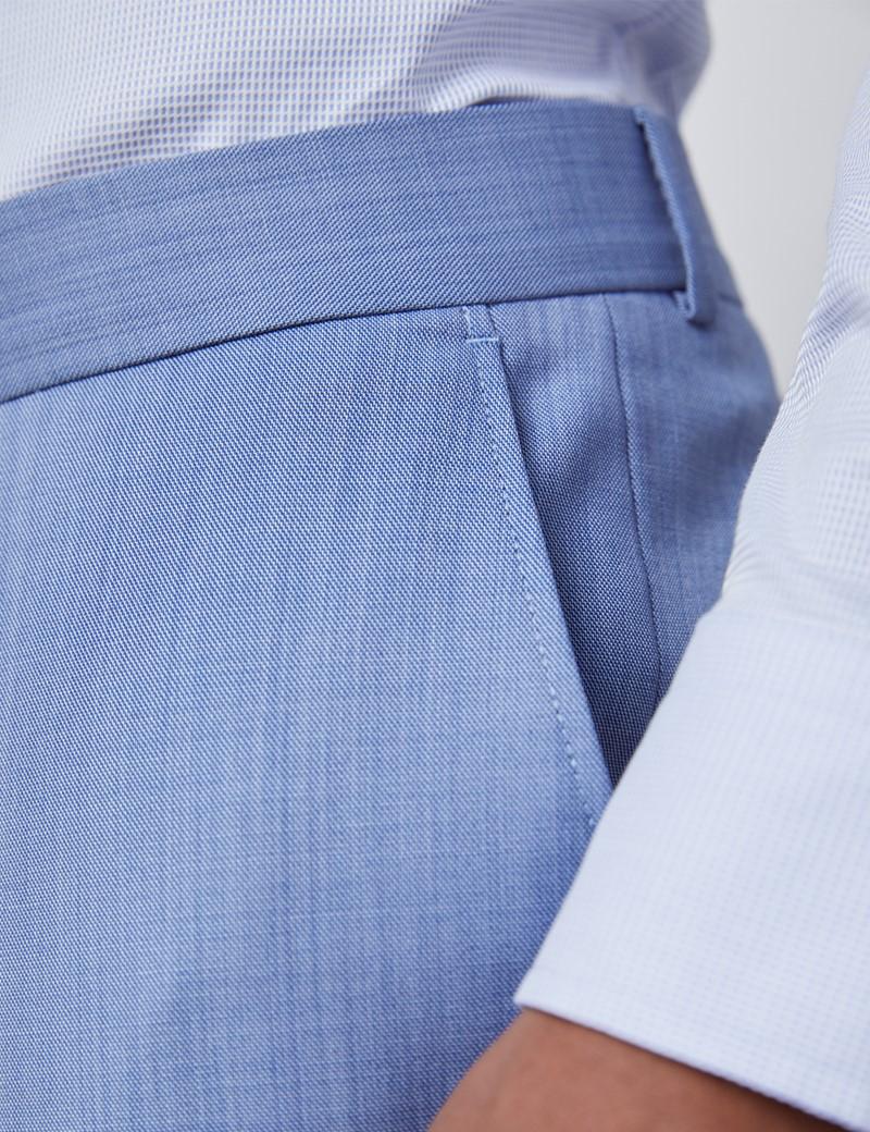 Luxuriöse Anzughose - Slim Fit - 120s Wolle - Vorderhose Gefüttert - Ungesäumt - Hellblau