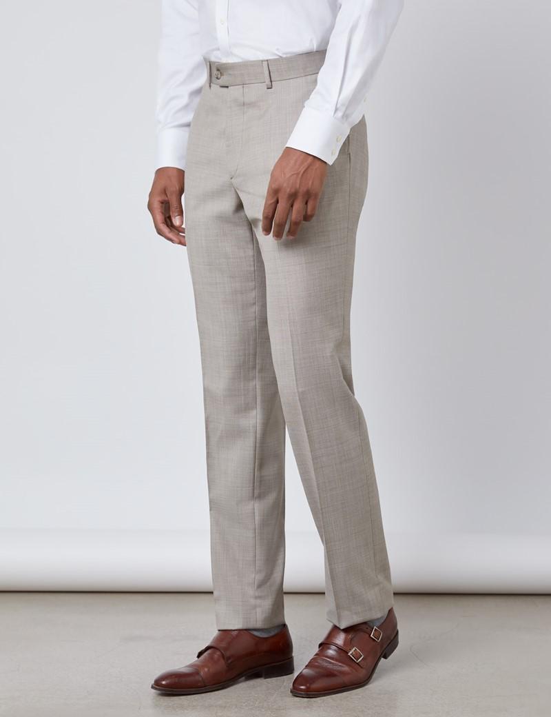 Luxuriöse Anzughose - Slim Fit - 120s Wolle - Vorderhose Gefüttert - Ungesäumt - Steinfarben