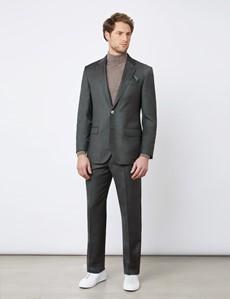 Anzughose - Tailored Fit - dunkelgrün - 120S Wolle - Ohne Bundfalte - Ungesäumt