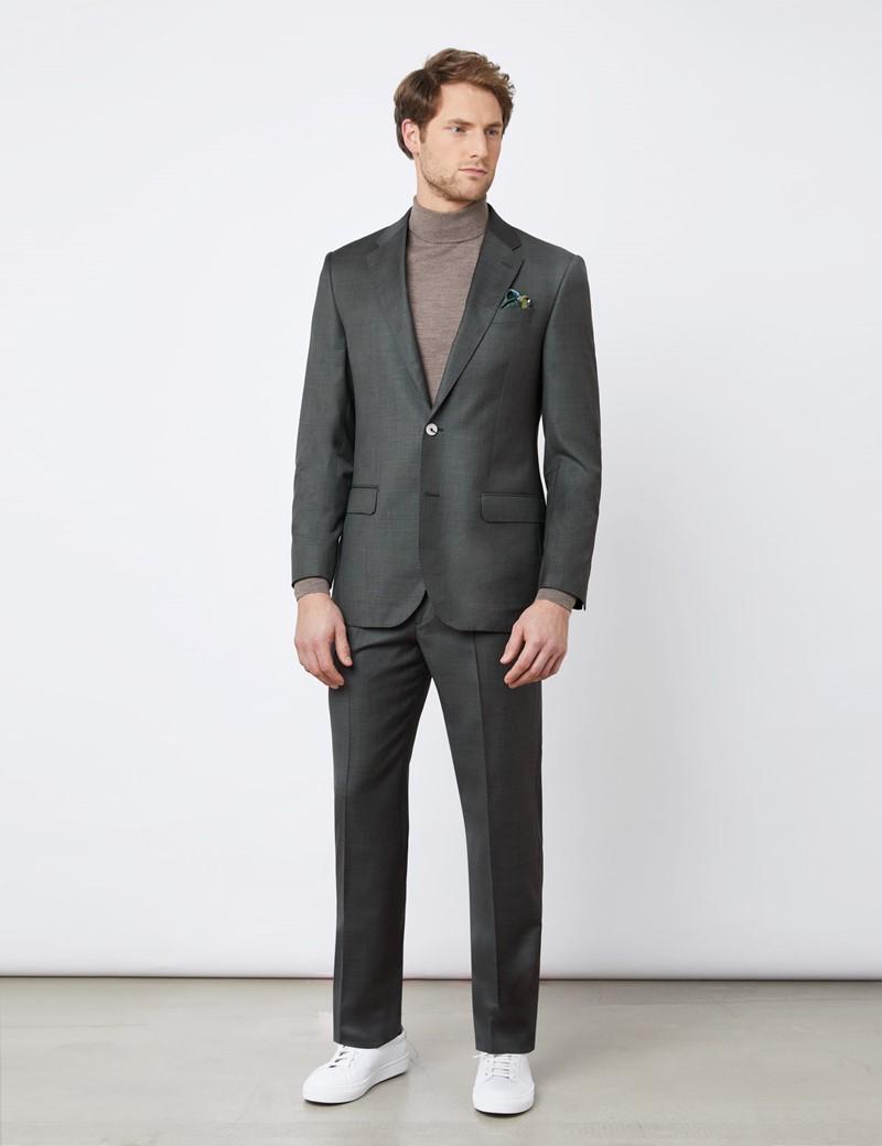Anzugsakko - Tailored Fit - dunkelgrün - 120S Wolle - Ohne Bundfalte - Ungesäumt