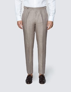 Men's Brown Semi Plain Linen Tailored Fit Italian Pleated Suit Trousers - 1913 Collection