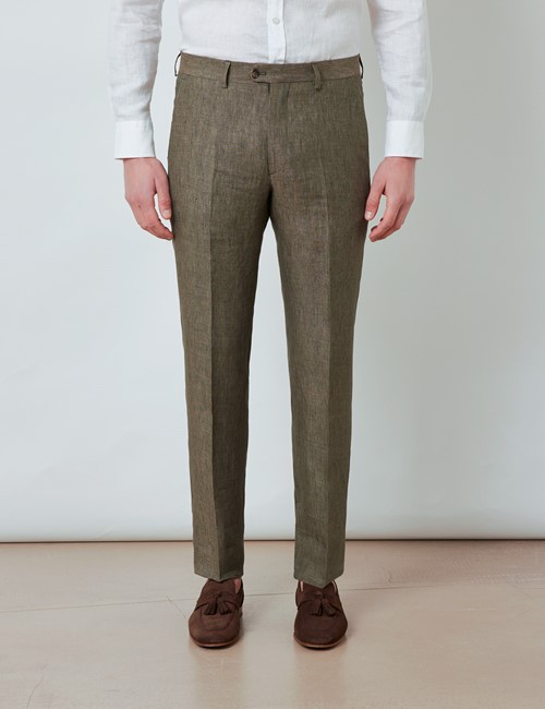 Leinenhose – Tailored Fit – ungesäumt – Bundfalte – Dunkelgrün