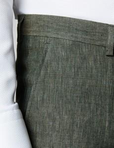 Men's Dark Green Semi Plain Linen Tailored Fit Italian Pleated Suit Trousers - 1913 Collection