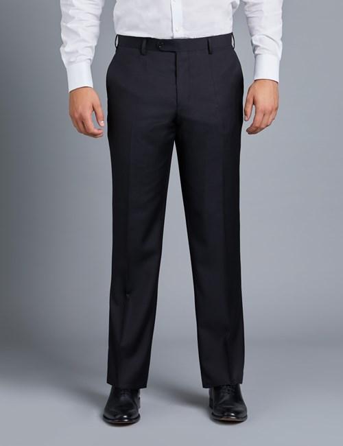 Anzughose - Classic Slim Fit - Twill schwarz - 100s Wolle - Ohne Bundfalte - Vorderhose Gefüttert - Ungesäumt