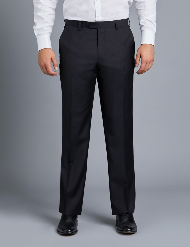 Men's Black Twill Classic Fit Suit Trousers