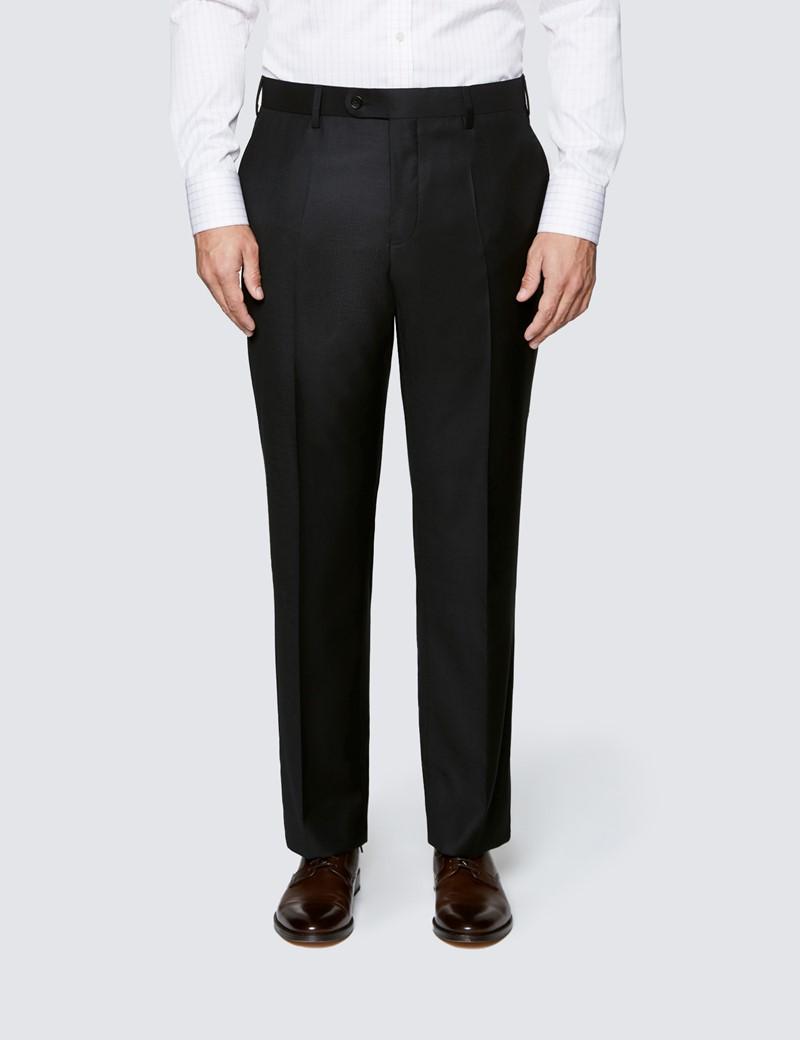 Men's Black Twill Classic Fit Suit Trousers