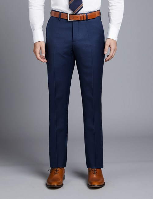 Men's Royal Blue Twill Classic Fit Suit Trousers