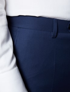 Anzughose - Classic Slim Fit - Twill königsblau - 100s Wolle - Ohne Bundfalte - Vorderhose Gefüttert - Ungesäumt