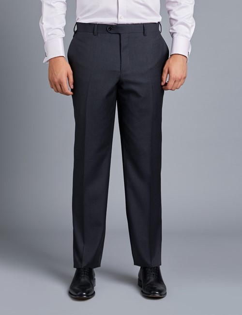 Men's Dark Charcoal Twill Classic Fit Suit Pants