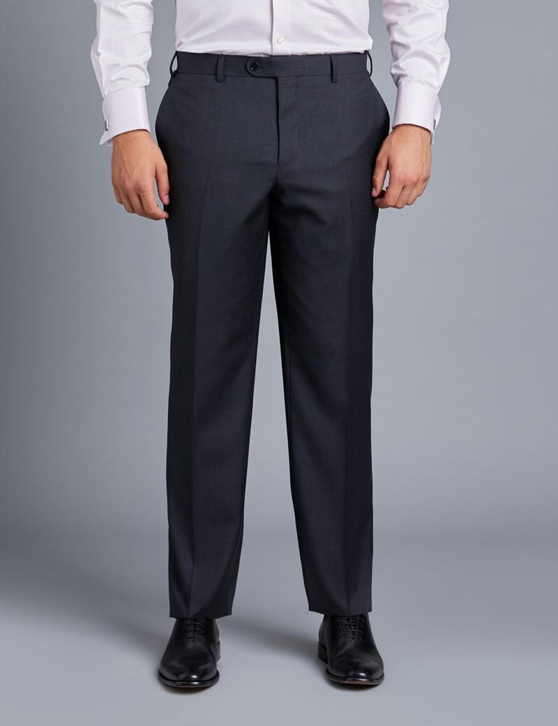 Anzughose - Classic Fit - Twill anthrazit - 100s Wolle - Ohne Bundfalte - Vorderhose Gefüttert - Ungesäumt