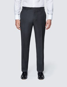 Men's Dark Charcoal Twill Classic Fit Suit Trousers