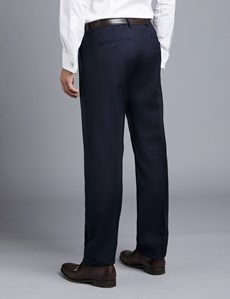 Men's Navy Twill Classic Fit Suit Trousers