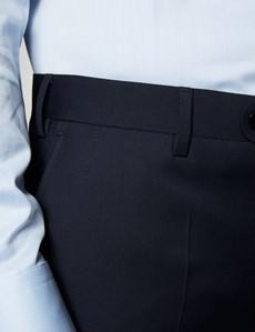 Anzughose - Classic Slim Fit - Twill nachtblau - 100s Wolle - Ohne Bundfalte - Vorderhose Gefüttert - Ungesäumt