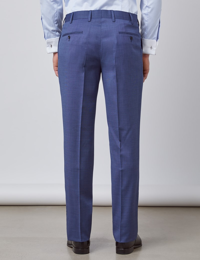 Men's Blue Pin Dot Semi Plain Classic Fit Suit Trousers