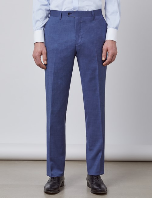 Men's Blue Pin Dot Semi Plain Classic Fit Suit Trousers