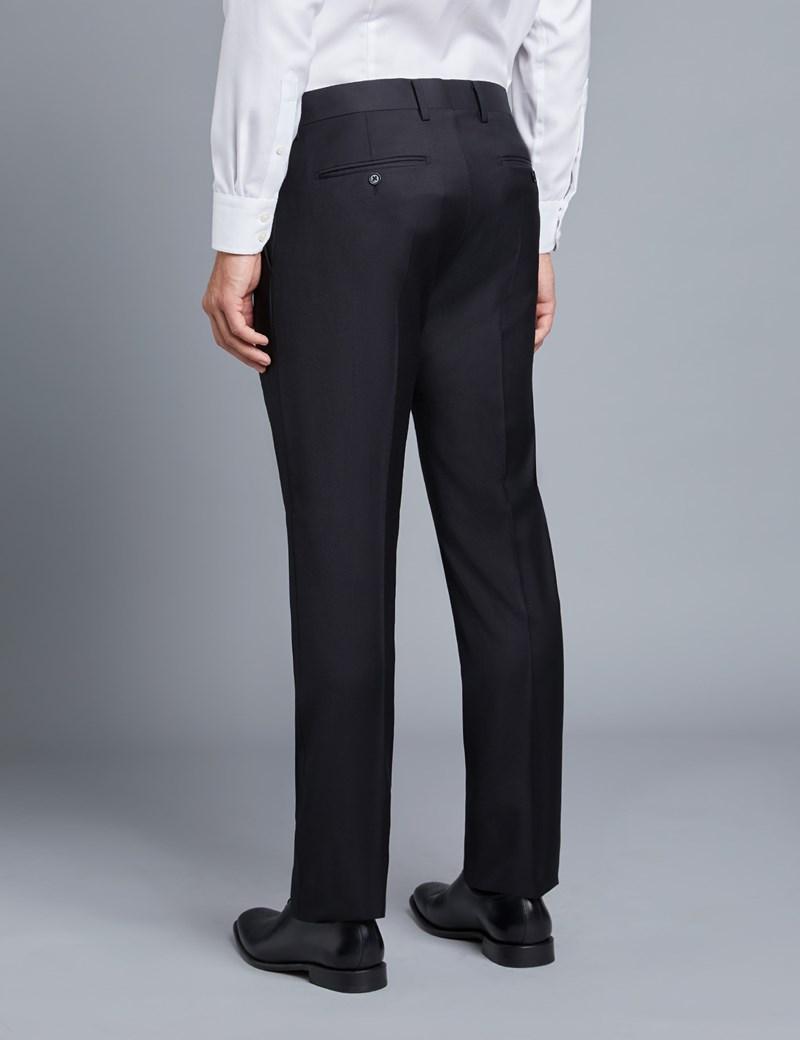 Men's Black Twill Extra Slim Fit Suit Trousers
