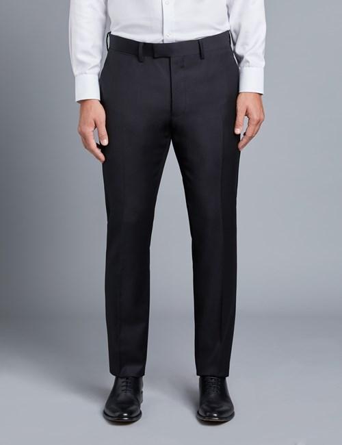 Anzughose - Extra Slim Fit - Twill schwarz - 100s Wolle - Ohne Bundfalte - Vorderhose Gefüttert - Ungesäumt