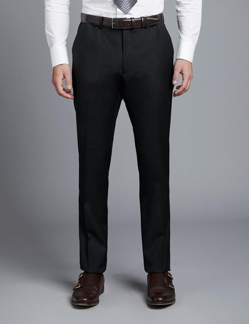 Anzughose - Extra Slim Fit - Twill kohlegrau - 100s Wolle - Ohne Bundfalte - Vorderhose Gefüttert - Ungesäumt