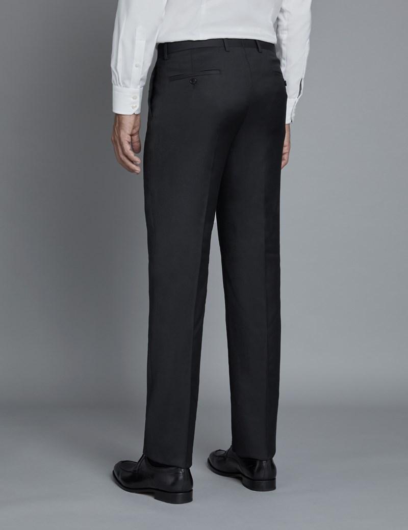 Anzughose - Extra Slim Fit - Schwarz Twill - 100s Wolle - Ohne Bundfalte - Vorderhose Gefüttert - Ungesäumt