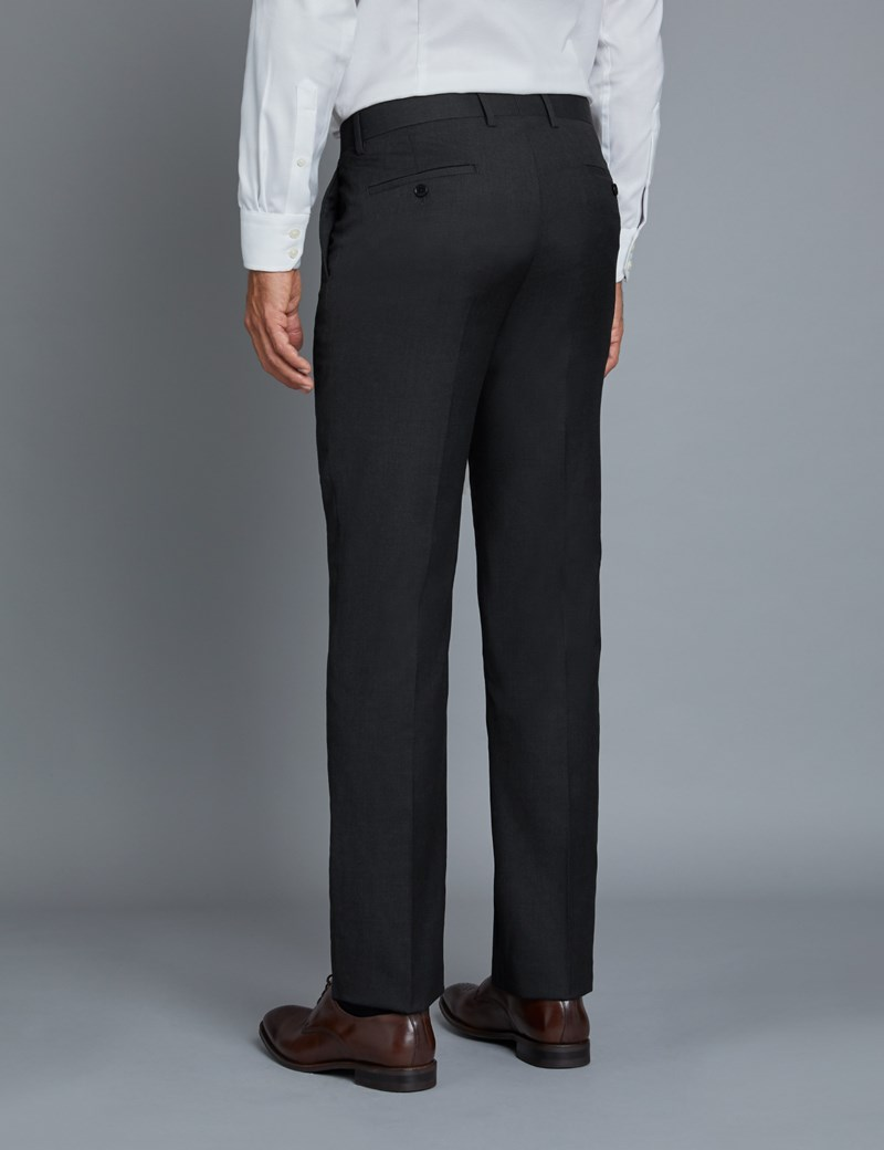 Men's Dark Charcoal Twill Extra Slim Fit Suit Trousers