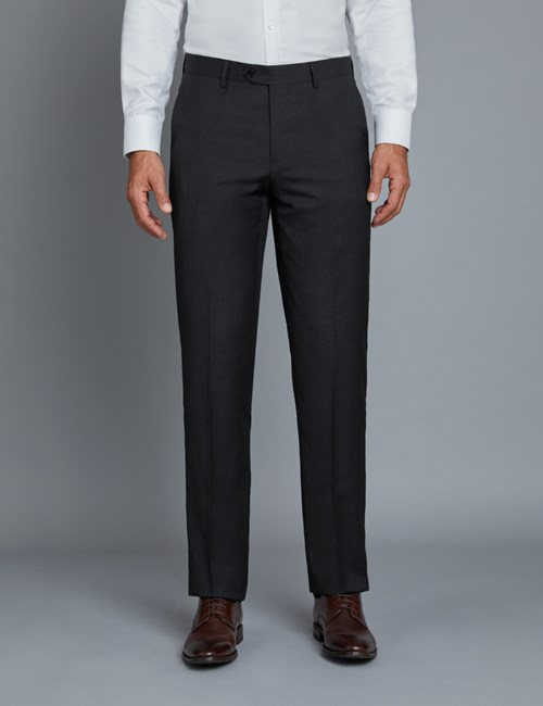 Men's Dark Charcoal Twill Extra Slim Fit Suit Pants